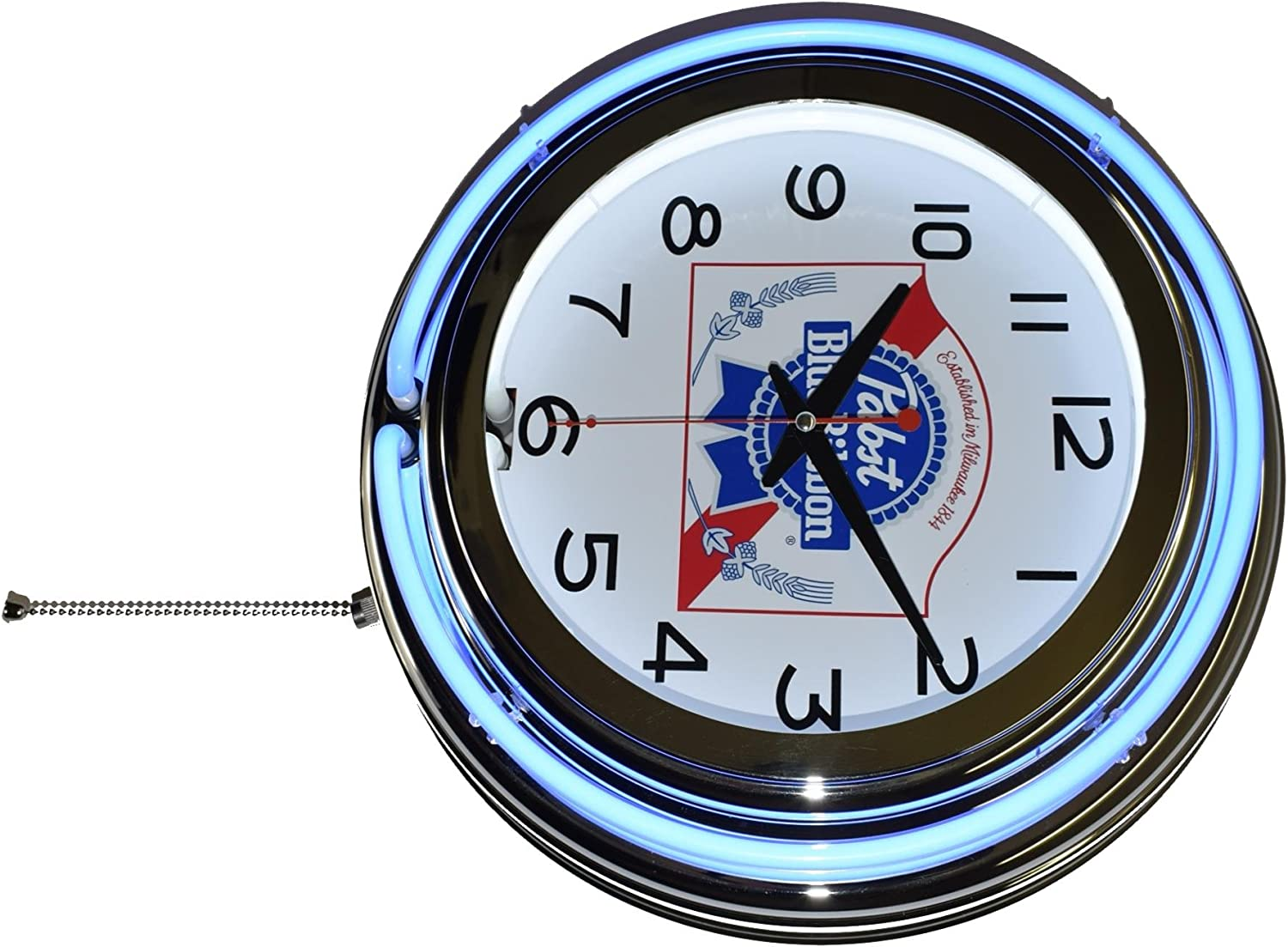 "*NEW* 14.25/"" PABST BEER RD GLASS FACE PAM CLOCK"