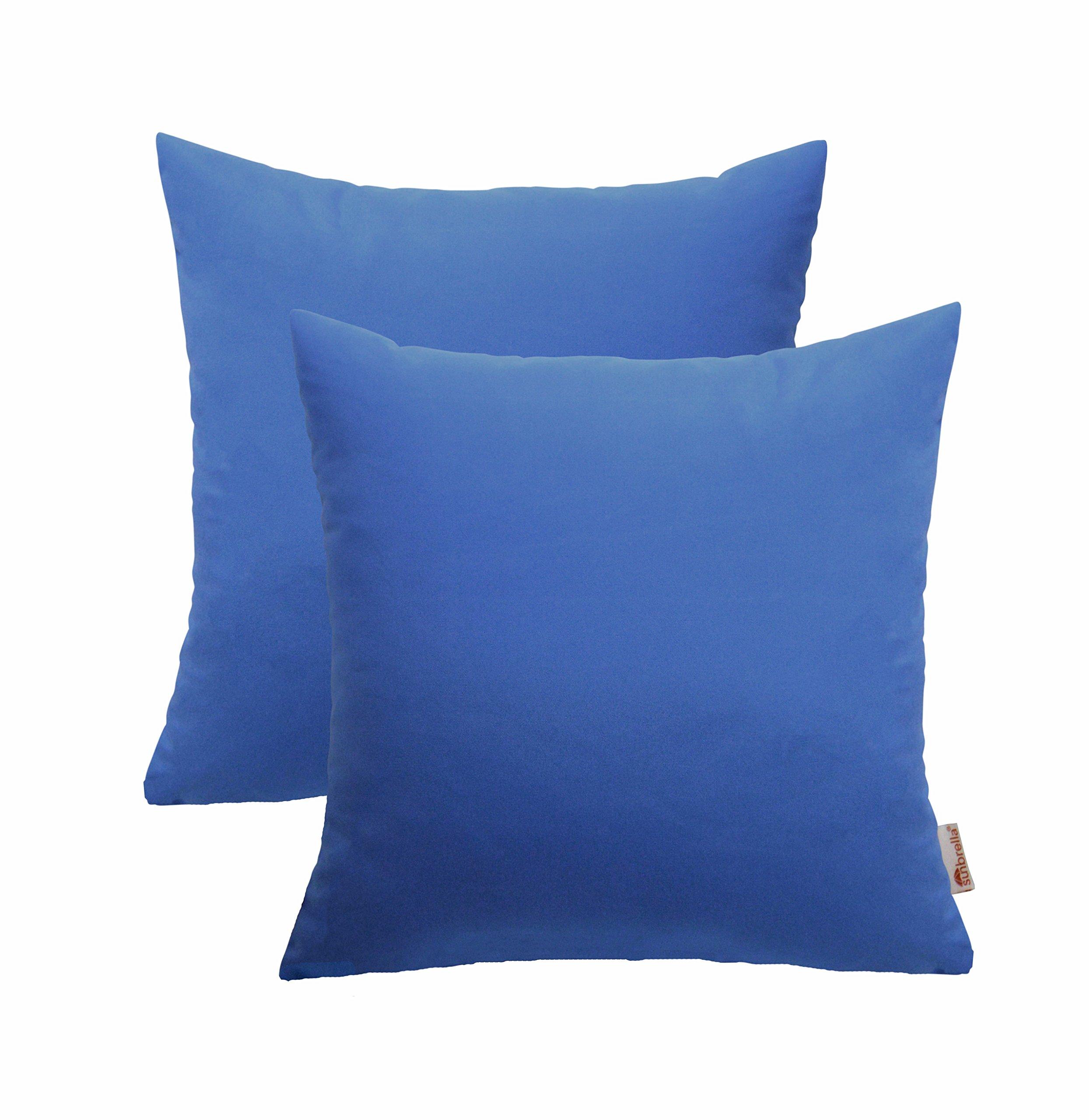 RSH Décor Set of 2 Indoor/Outdoor Decorative Throw Pillows Sunbrella Canvas Capri Blue - 20'' x 20''