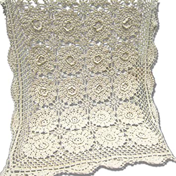 tidetex algodón ganchillo hecho a mano Camino de mesa mantel flor tridimensional funda para mesa Vintage encaje Hollow Out Funda toalla Rectangular: ...