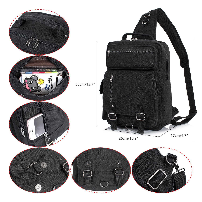 H HIKKER-LINK Mens Messenger Bag Sling Backpack Crossbody Travel Knapsack Black