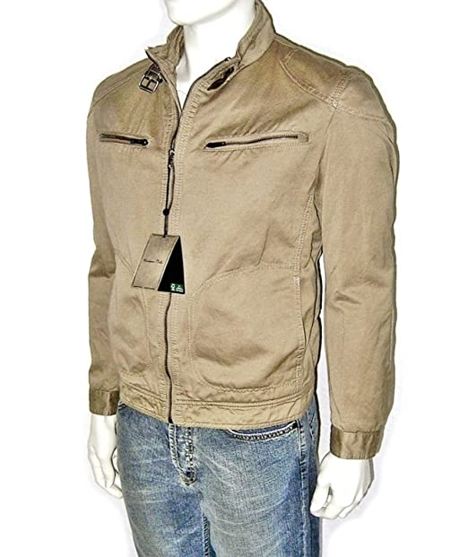 MASSIMO DUTTI Hombre Chaqueta, Tiempo Libre, Desert Biker - Jacket Vintage Lino Bike Chaqueta, Talla L + XL (Slim-Fit, Tallaje pequeño) Desert ...