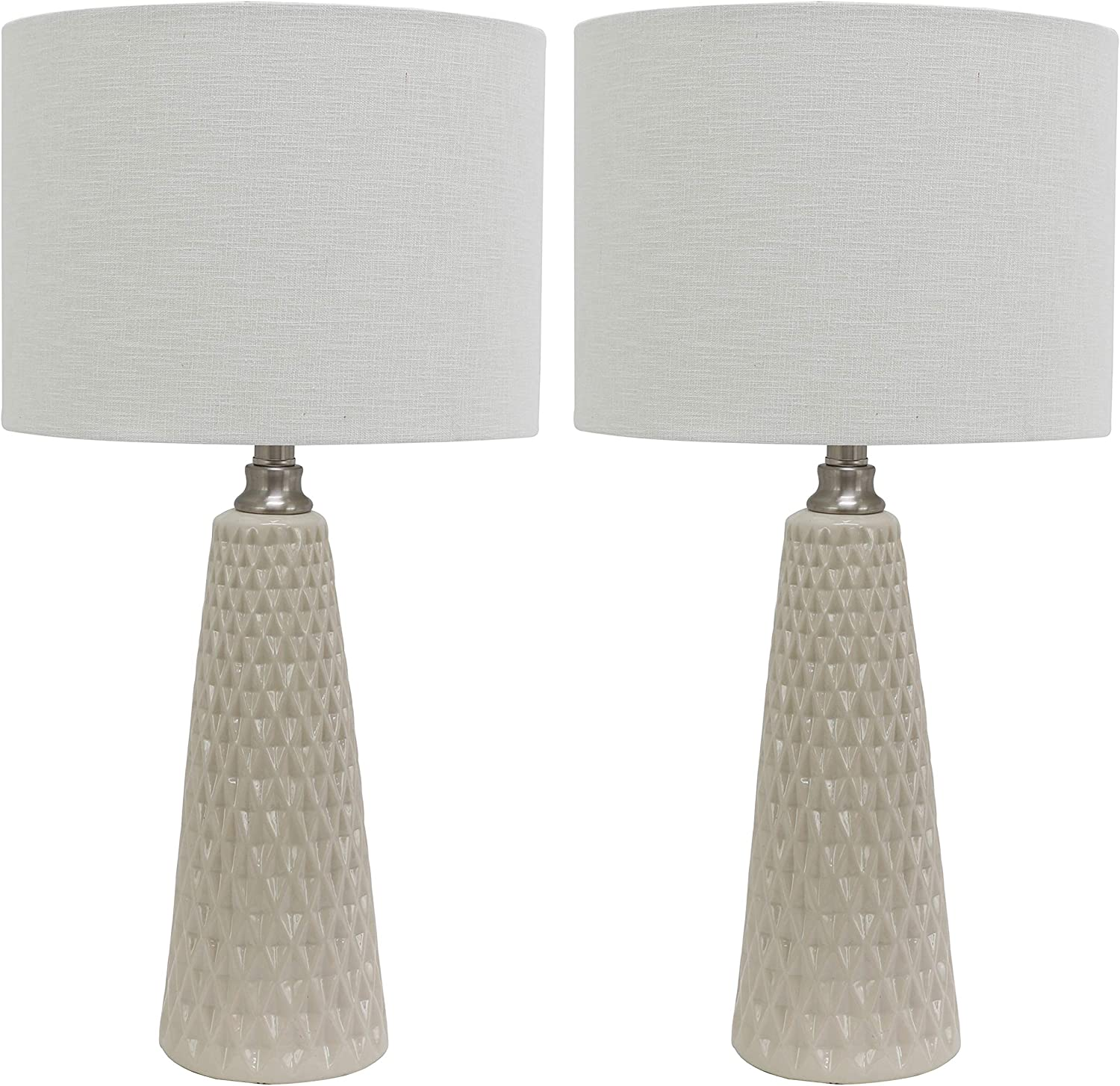Decor Therapy MP1631 Set of Two Jameson Textured Ceramic Table Lamps, Ivory
