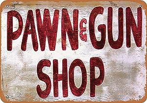 "Lplpol Metal Sign - Pawn & Gun Shop Vintage Retro Wall Decor Home Decor 12"" x 18"""