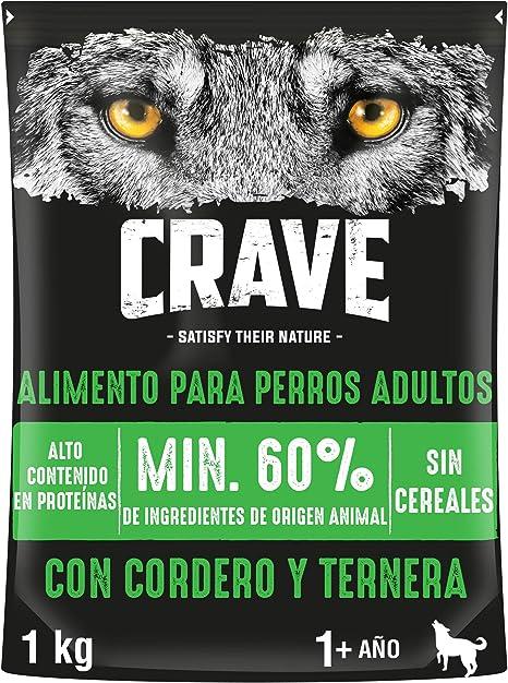 Crave Pienso para Perros Adultos Sabor Cordero y Ternera (Pack de 5 x 1kg)