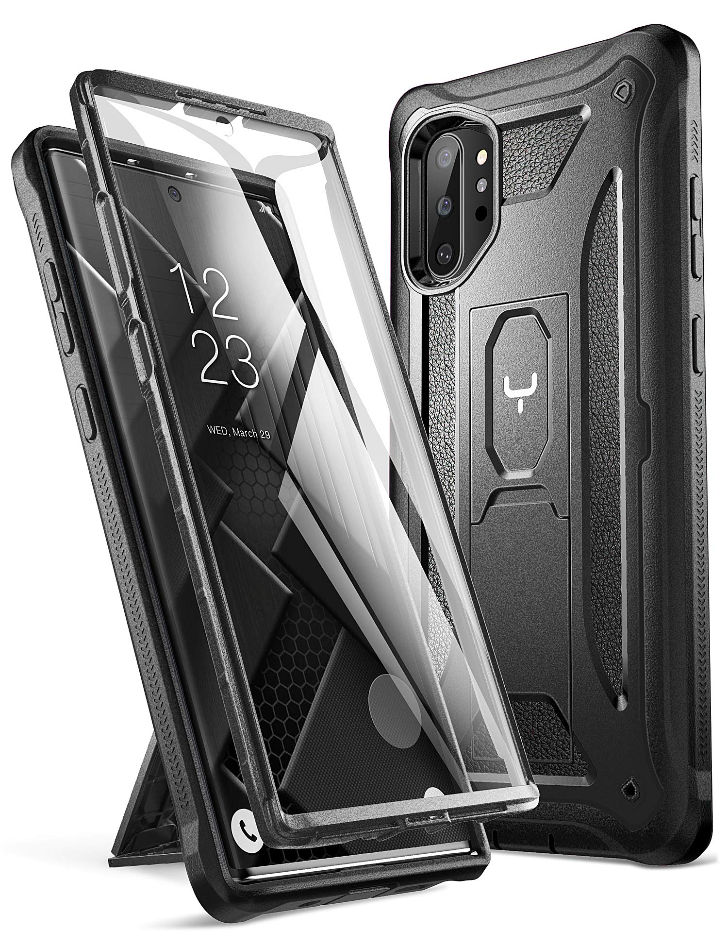 YOUMAKER Case for Galaxy Note 10 Plus, Built-in Screen Protector Work with Fingerprint ID Kickstand Full Body Heavy Duty Shockproof Cover for Samsung Galaxy Note 10 Plus 6.8 Inch (2019) - Black by YOUMAKER