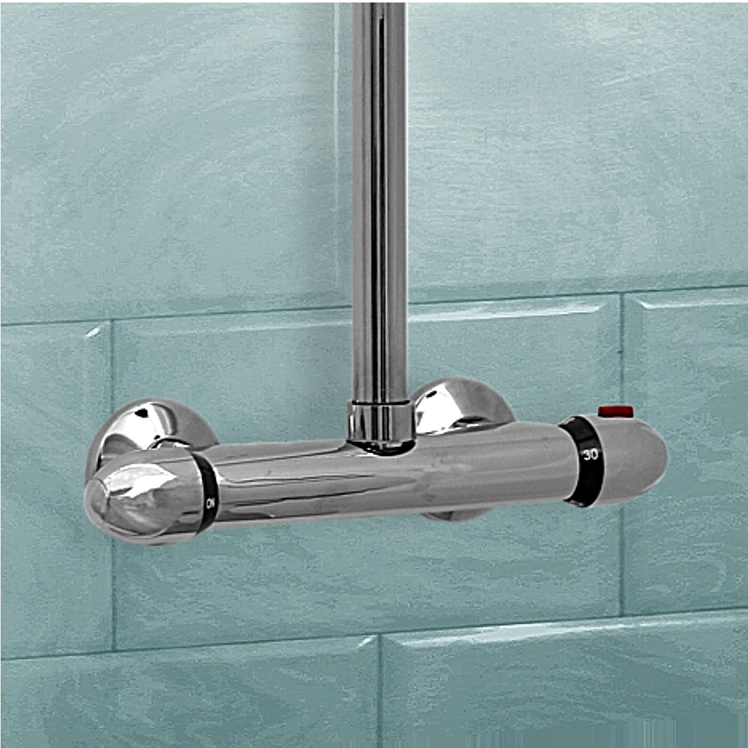 ENKI Thermostatic Shower Valve Mixer Tap Top Outlet Curved Exposed ...