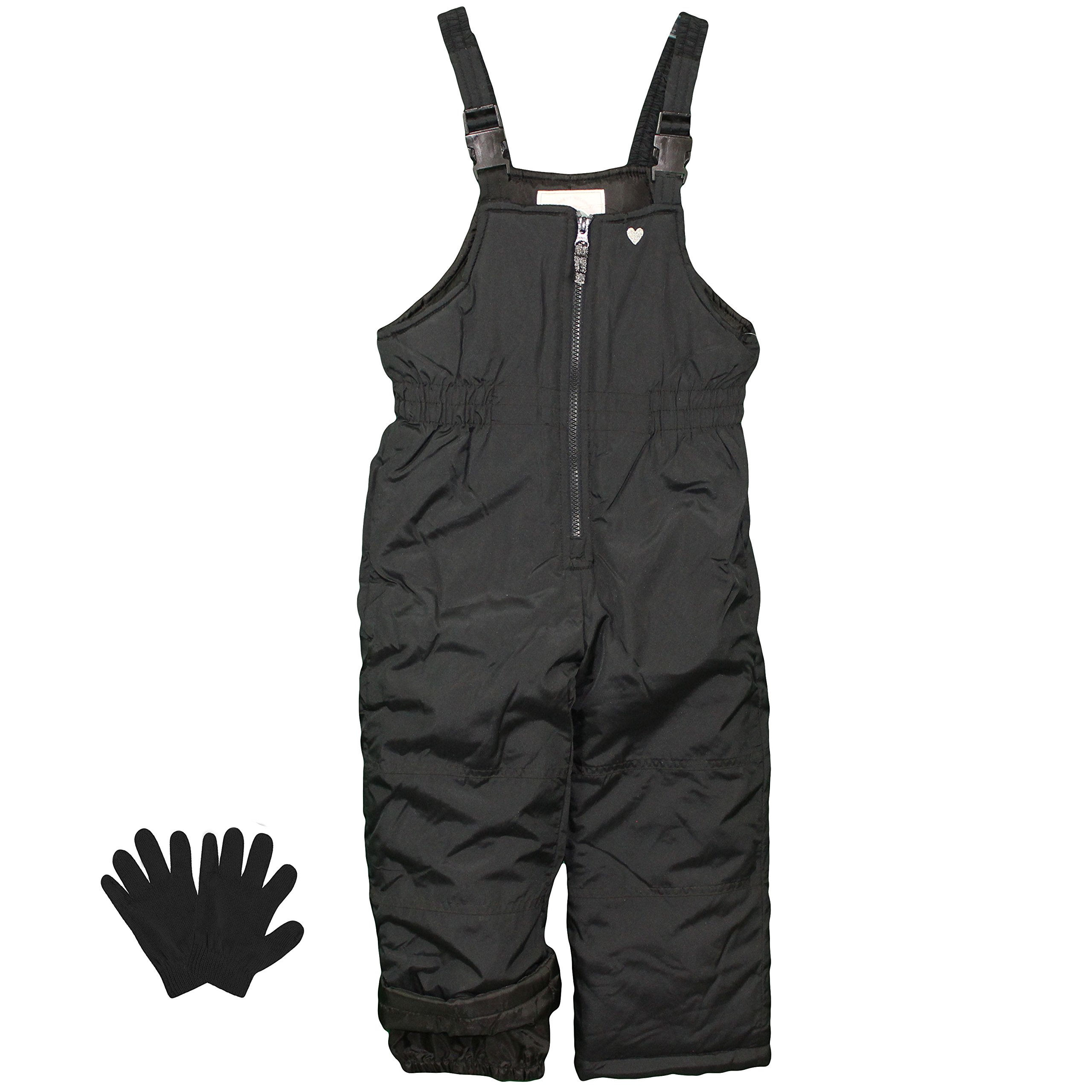 Carter's Snow Pants Little Girls Heavy Weight Snow Bibs and Gloves - Black - 4