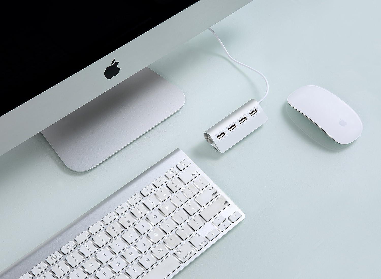 Cateck Premium - Hub USB (4 x USB), Color Plateado
