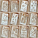 Hillento 12 Pcs Drawing Painting Stencils Scale Template Sets for Bullet Journal Diary Notebook 8-Ring Paper Inserts,Perfect for Children Creation,Scrapbooking,DIY Albums,Card and Craft Projects