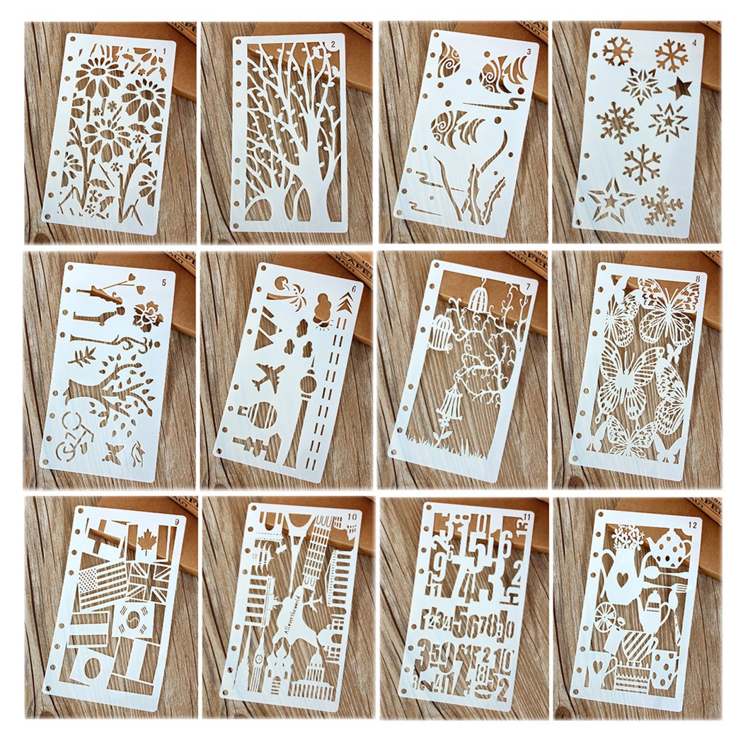 Hillento 6 Packs36 Pieces Painting Stencil Plastic Animal