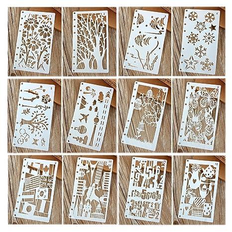 Hillento 12 piezas Dibujo de plantillas de pintura Conjuntos de plantillas de escala para el cuaderno