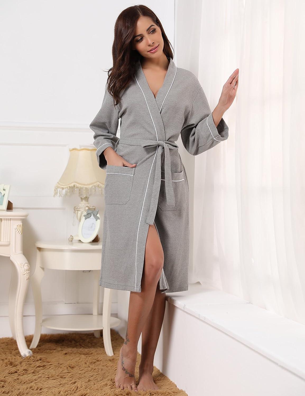 Aibrou Peignoir De Femme Homme Robe Nid Coton Chambre Dabeille rrwdaZq 4fa96b2ba4b