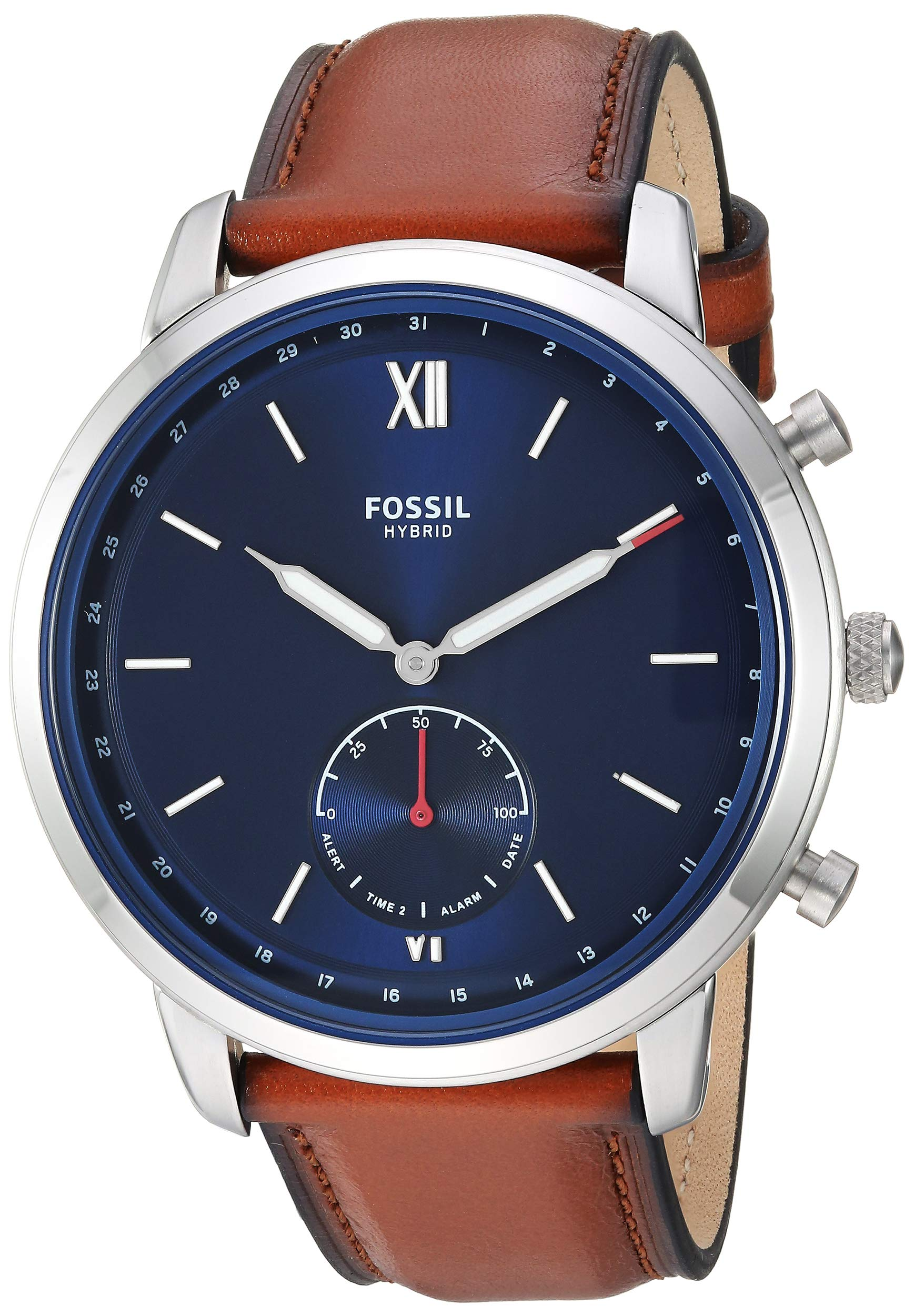 Fossil Men's Hybrid Smartwatch Stainless Steel Watch with Leather Strap, Brown, 20.8 (Model: FTW1178)