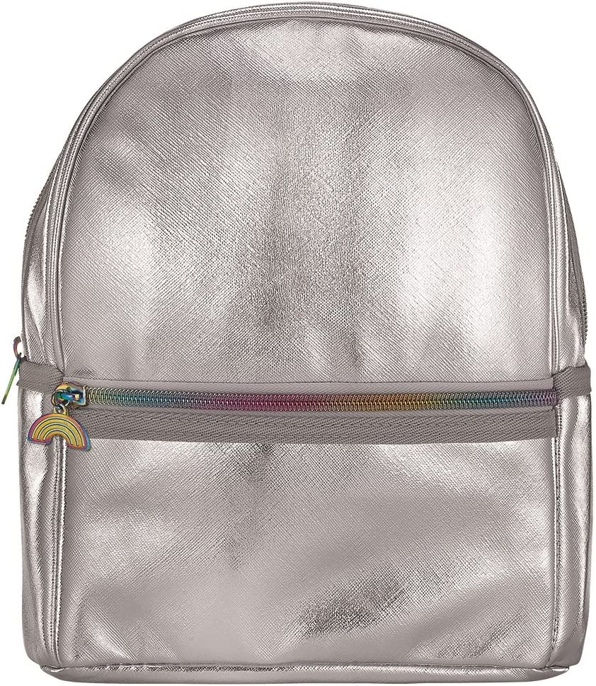 iscream Girls Silver Metallic Faux Leather Mini 10 x 8 Backpack for Fun and Travel