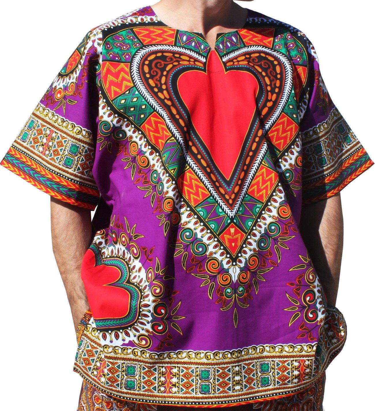 RaanPahMuang Bright Heart Cotton Africa Dashiki Plus Sized Shirt Plain Front, XXXXX-Large, Purple by RaanPahMuang