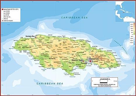 Amazon.com : Academia Maps - Wall Map of Jamaica - Fully ...