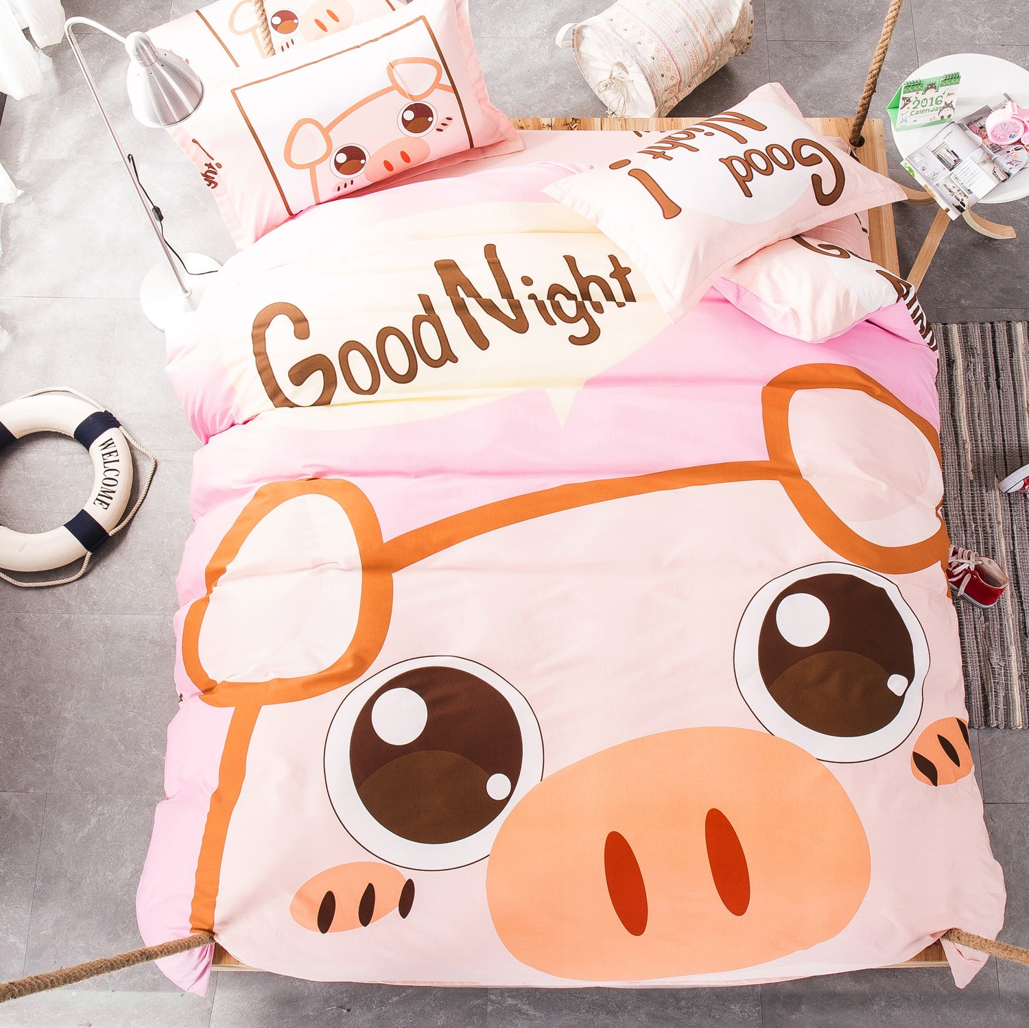 Mumgo Home Bedding Sets for Kids 100% Cotton Cute Cartoon Animal Good Night Print Duvet Cover Set Full/Queen Size 4 Piece -Not Include Comforter (Cute Pig)