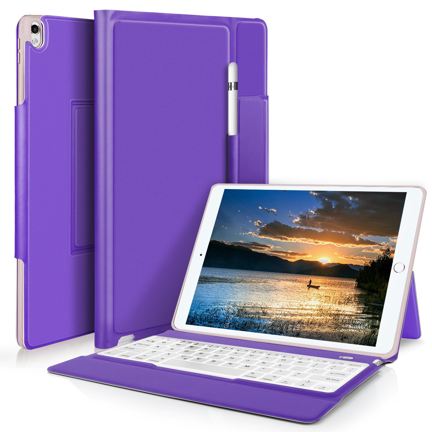 IVSO Apple ipad Pro 10.5 Case Keyboard Ultra-Thin One-Piece Wireless Keyboard Stand Case/Cover + Pencil Holder Apple ipad Pro 10.5 Tablet(Purple)