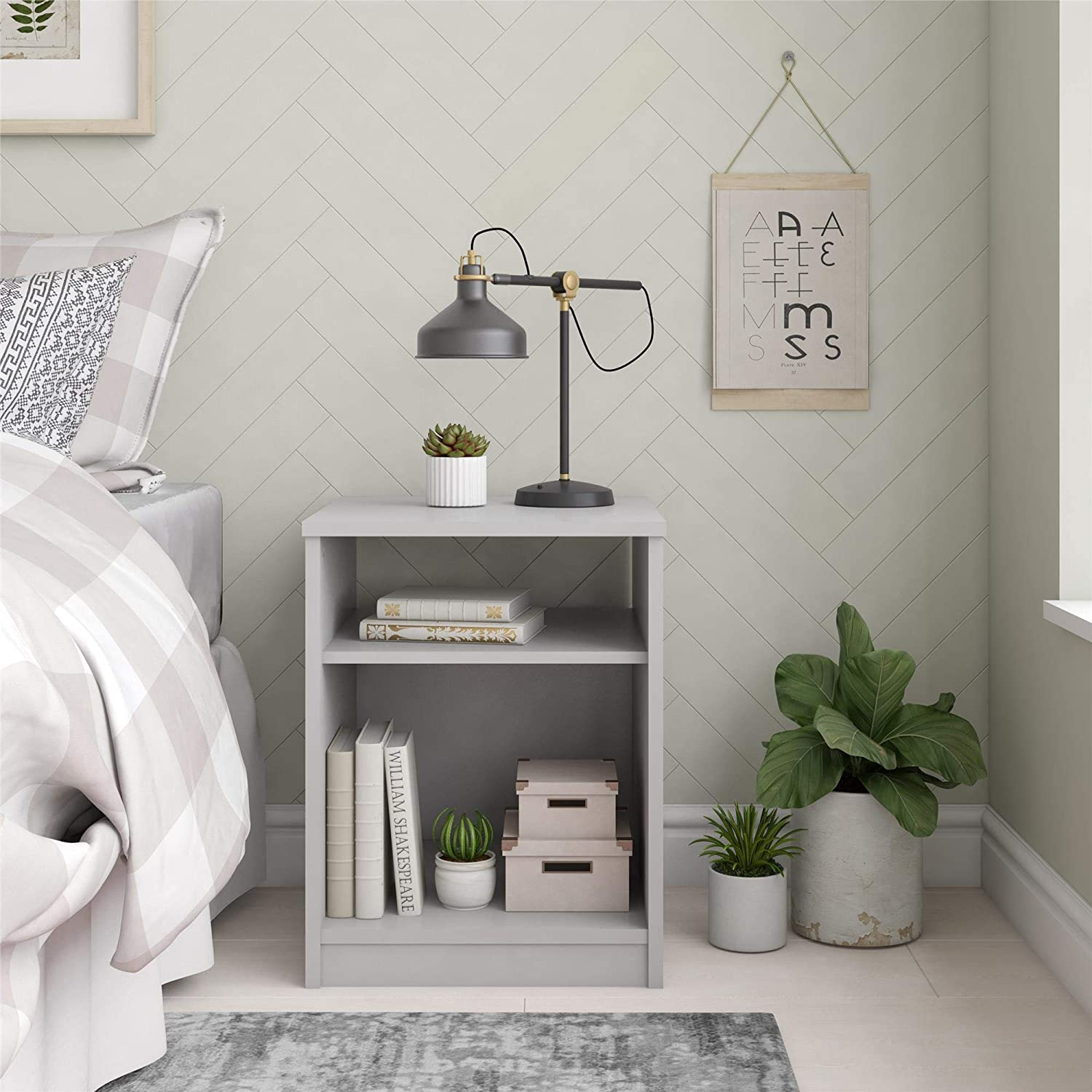 Mainstays Classic Look Nightstand Features Open Top Shelf and Bottom Cubby with Table Lamp, Dove Gray
