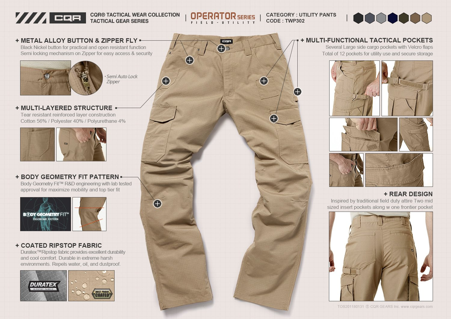 CQR CQ-TWP302-BLK_38W/34L Men's Operator Rip-Stop Tactical Work Utility Pants EDC TWP302 by CQR (Image #6)