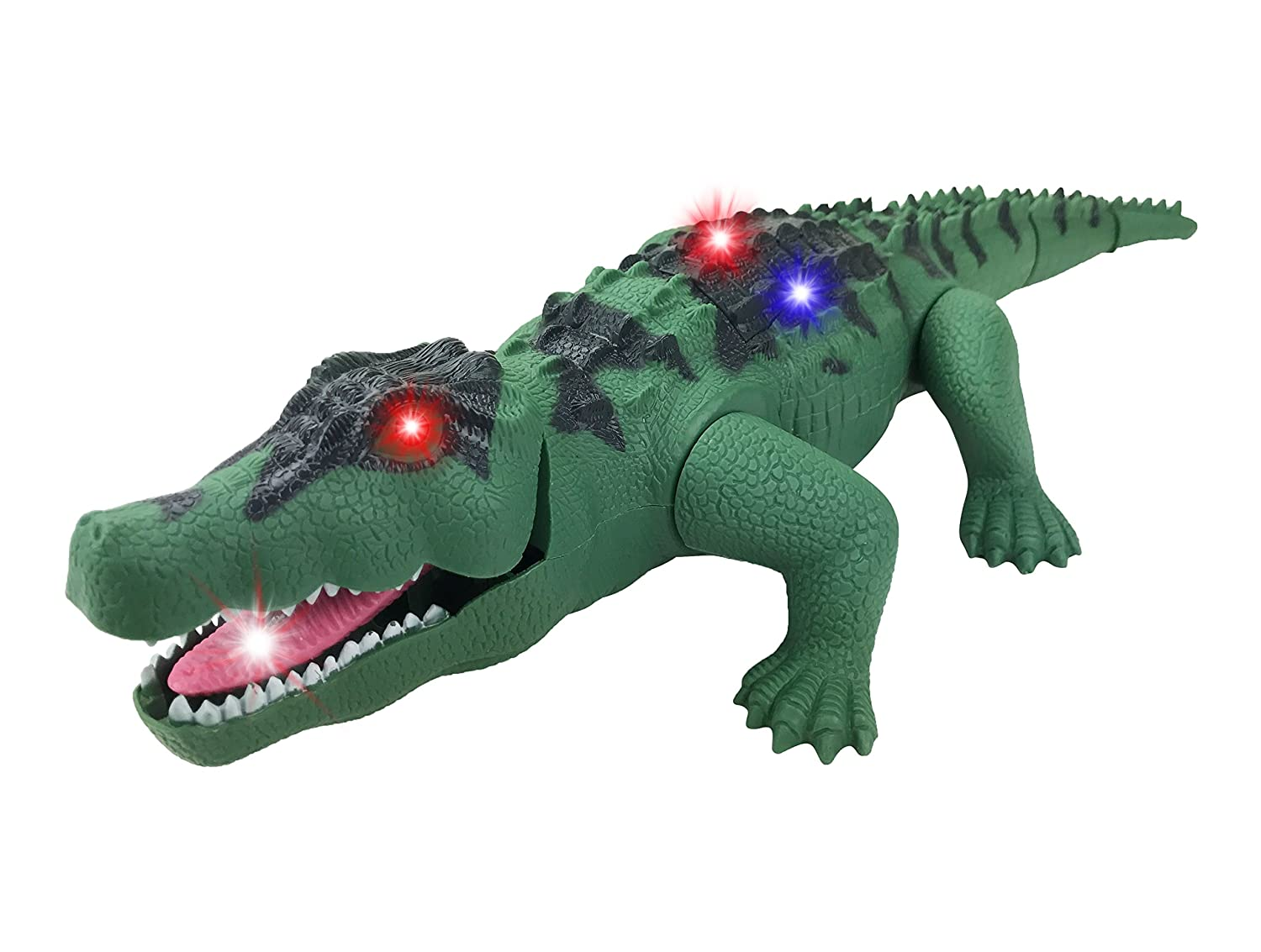 Liberty Imports Crocodile Toy Battery Operated 16 Alligator with Moving Jaws Lights and Realistic Sound