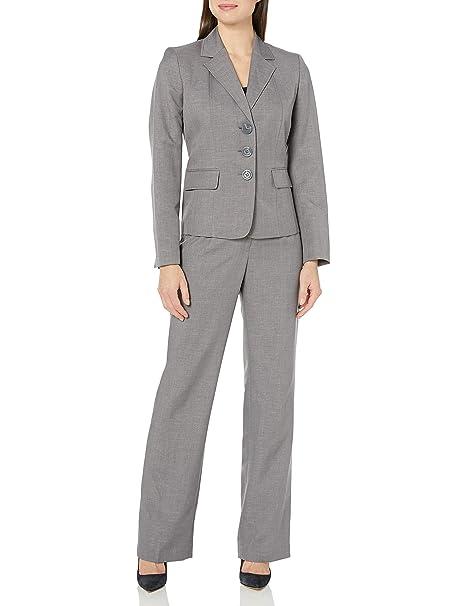 Amazon.com: le suit Women s 3 Botón gris para hombre traje ...