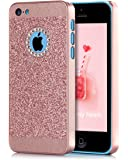 iPhone 5C Case, BENTOBEN Glitter Sparkly Bling Luxury Rhinestone Ultra Slim Hard Cover Laminated with Shiny Faux Leather Protective Case for iPhone 5C, Rose gold