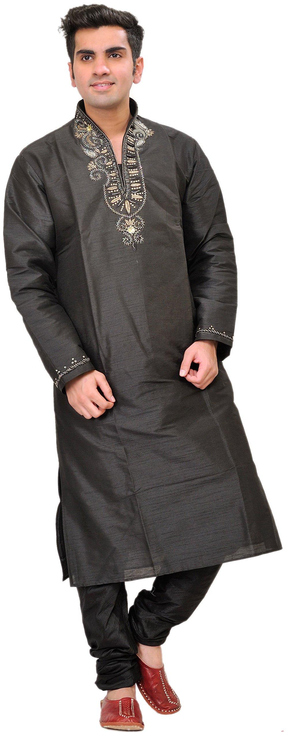 Exotic India Black Wedding Kurta Pajama With Beads-EMBR Size 40