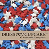 Dress My Cupcake DMC27287 Decorating Edible Cake and Cookie Confetti Sprinkles, July 4th Red/White/Blue Stars, 2.6-Ounce