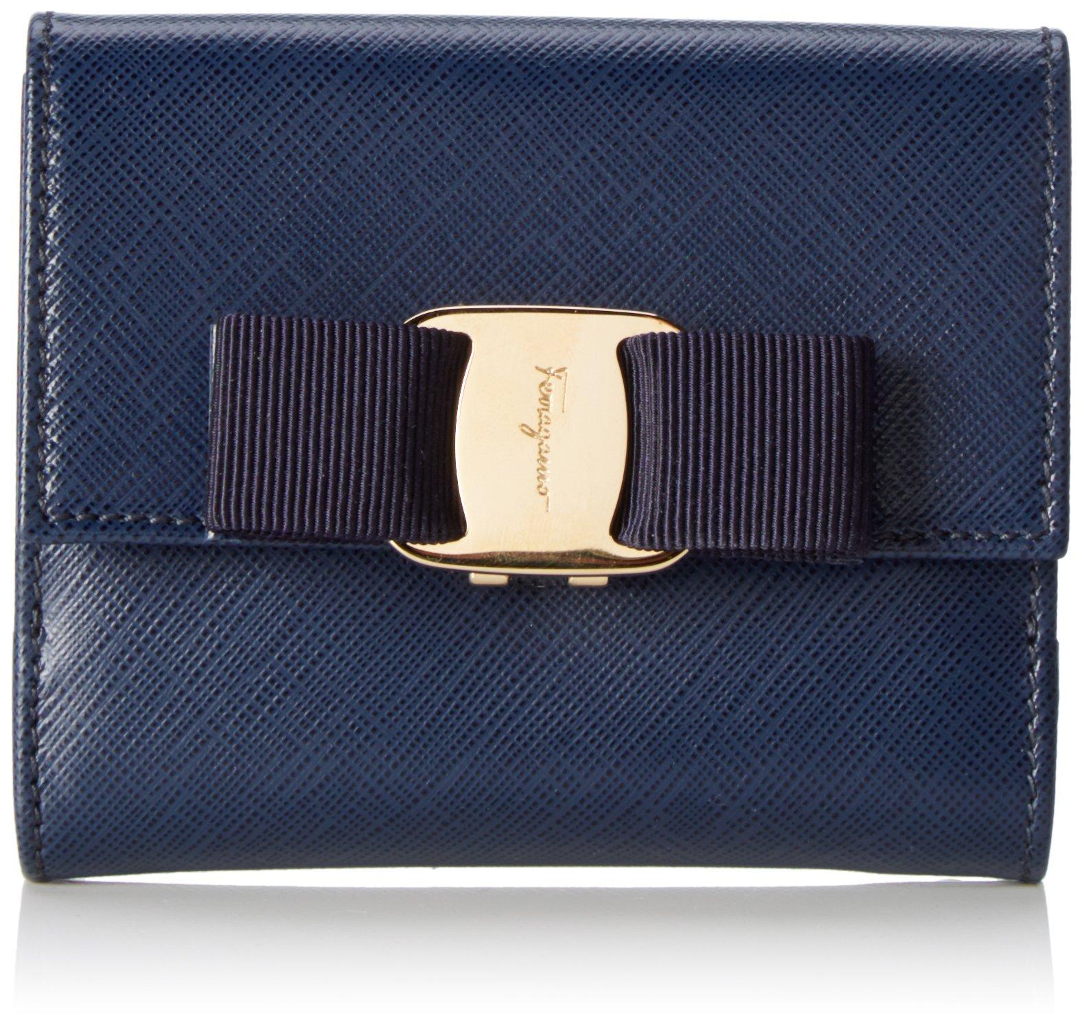 Salvatore Ferragamo Women's Vara Mini Wallet 560786, Navy One Size
