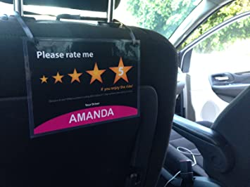 Set Of 2 Uber Lyft 5 Star Ratings Sign Car Display Cards