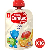 Nestlé CERELAC Fruits Puree Apple, Banana, Peach, Apricot, Orange, Grape 90g (16 Pouches)