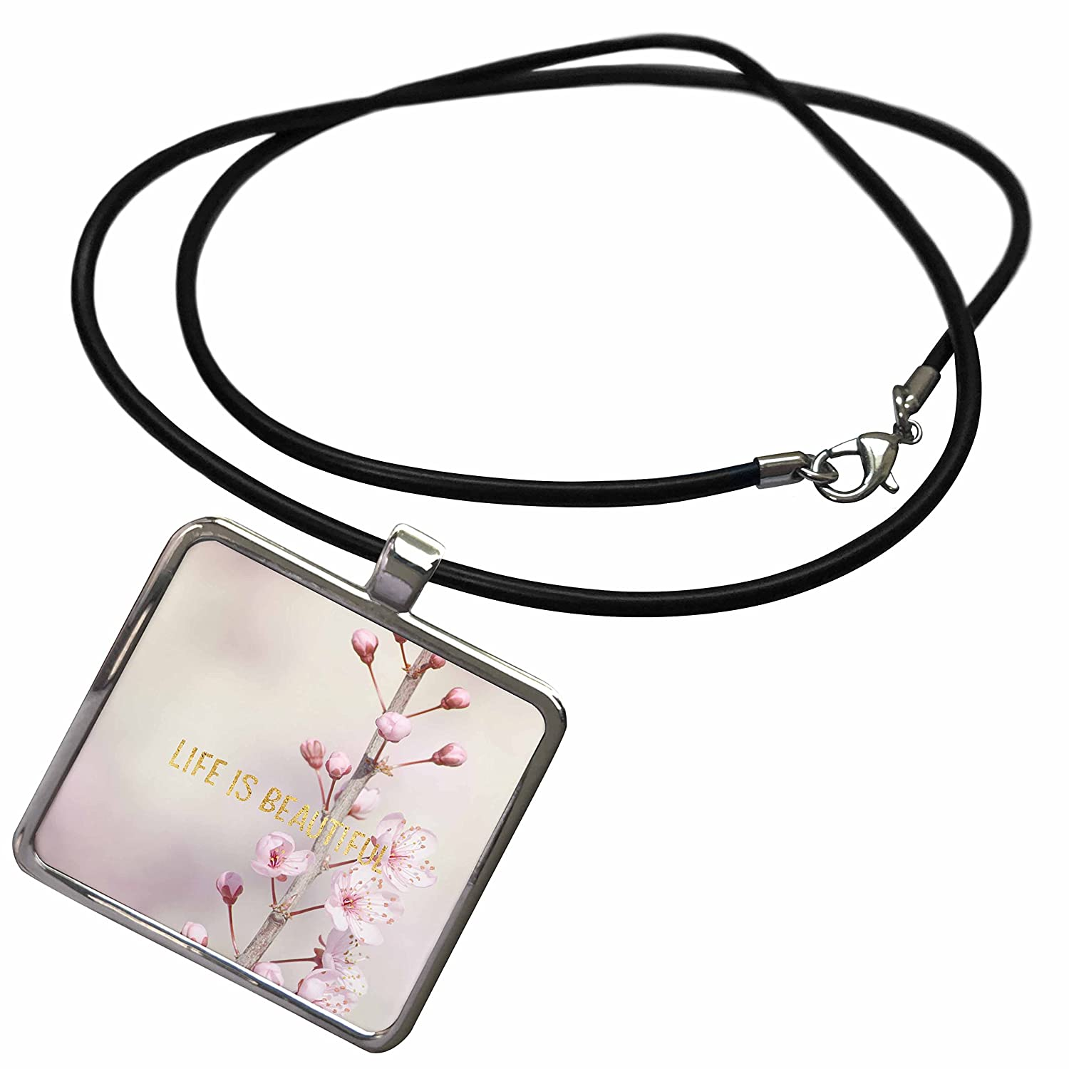 f1bc78c50 Amazon.com: 3dRose PS Inspiration - Image of Gold Life is Beautiful Cherry  Blossom Flowers - Necklace With Rectangle Pendant (ncl_274250_1): Jewelry