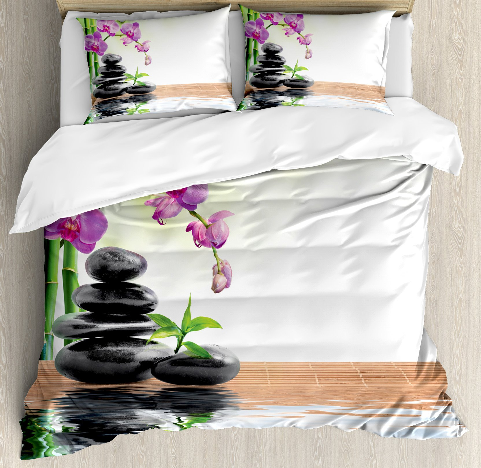 Spa Decor Duvet Cover Set by Ambesonne, Spa with Spring Water and Health Giving Properties Asian Eastern Way of Getting Better Art Photo, 3 Piece Bedding Set with Pillow Shams, Queen / Full, Multi by Ambesonne (Image #1)