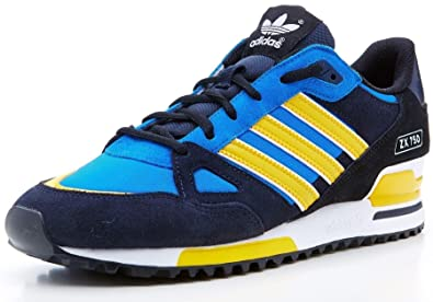 low priced 61bbc 86fd5 adidas Originals Men's ZX 750 trainers black & blue & yellow ...