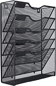 EasyPAG Mesh Wall File Holder 5 Tier Vertical Mount Hanging Organizer with Bottom Flat Tray,Black