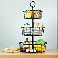Giftburg Rustic Wrought Iron 3-Tier Wire Countertop Basket for Fruit, Vegetables or Cosmetics