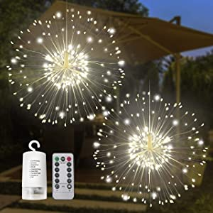 Joiedomi 120LED Hanging Fairy Lights (Warm White) 2 Pack, Waterproof for Christmas, Home, Party, Wedding, Garden, Xmas Garden Patio Bedroom Decor Indoor Outdoor Decor