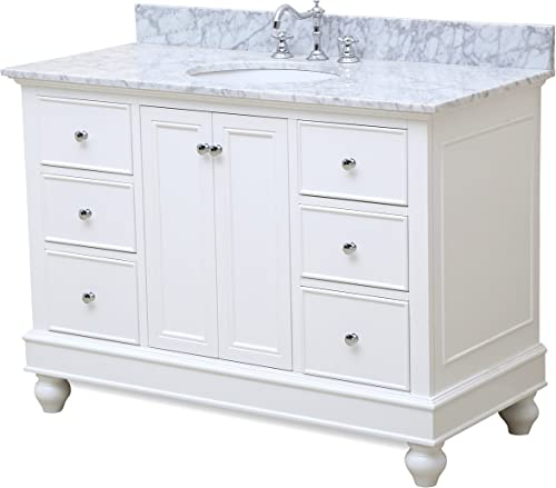 Bella 48-inch Bathroom Vanity Carrara/White : Includes White Cabinet