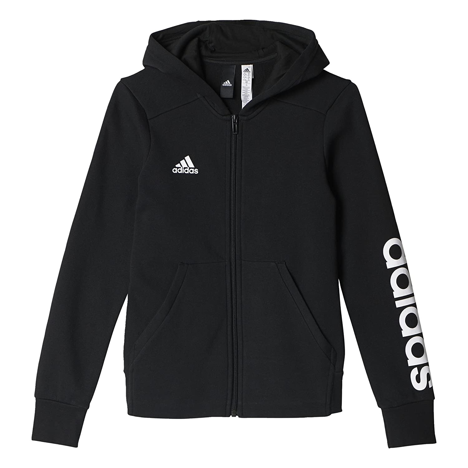 adidas Girls' Essentials 3-Stripes Mid Hoodie
