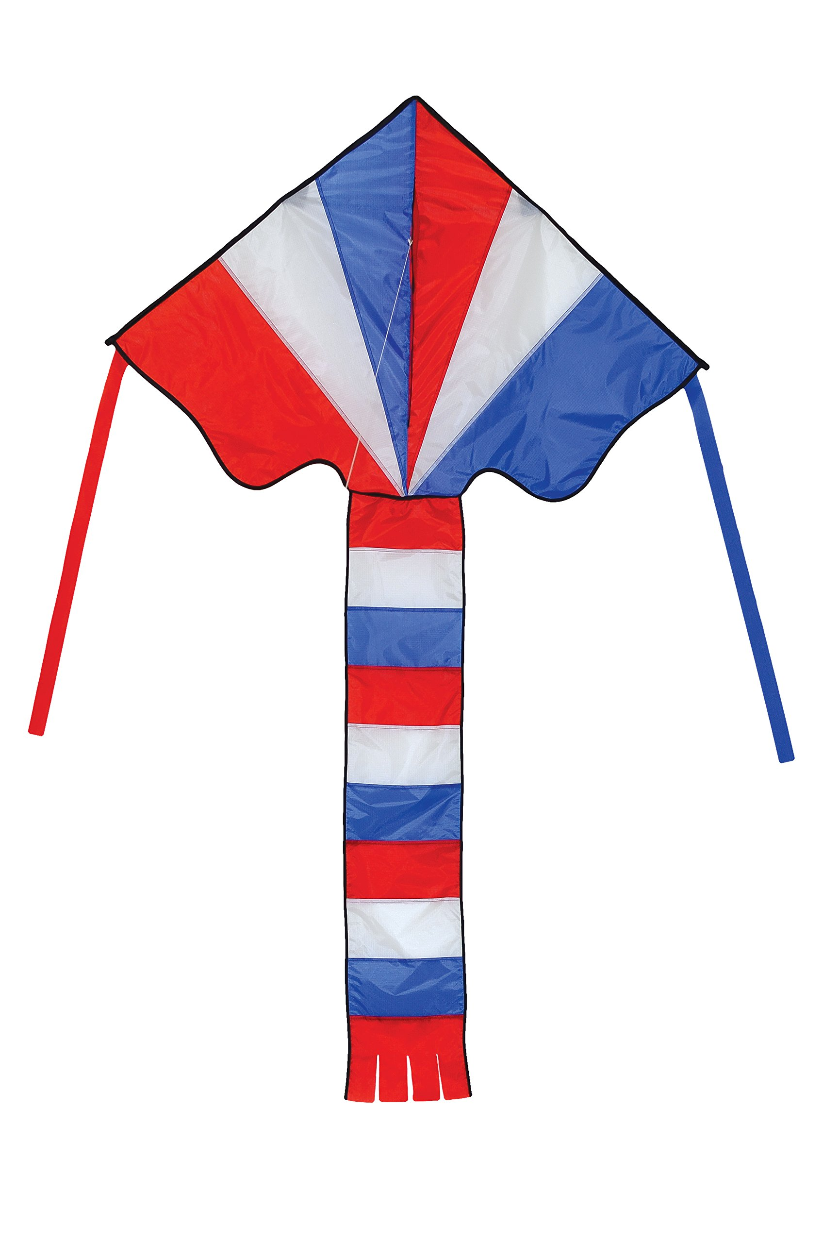 In the Breeze Red, White & Blue 46 Inch Fly-Hi Delta Kite - Single Line - Ripstop Fabric - Includes Kite Line and Bag - Great Beginner Kite