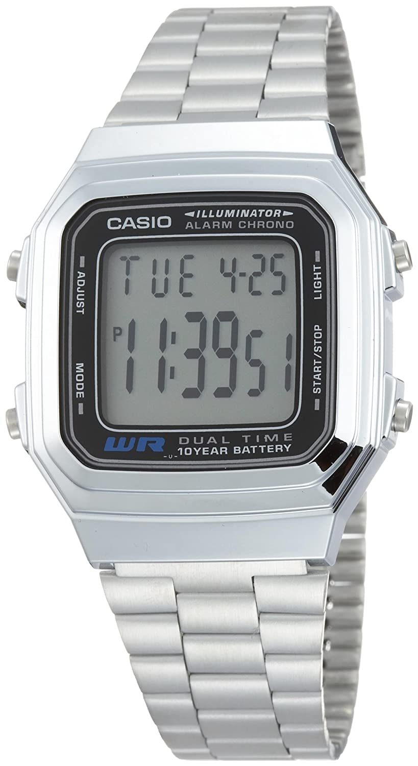 Amazon.com: Casio Mens A178WA-1A Silver Stainless-Steel Quartz Watch with Grey Dial: Classic: Watches