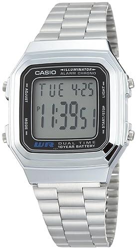Casio Reloj Digital para Unisex de Automático con Correa en Acero Inoxidable Chapado en Platino A-178WA-1: Amazon.es: Relojes