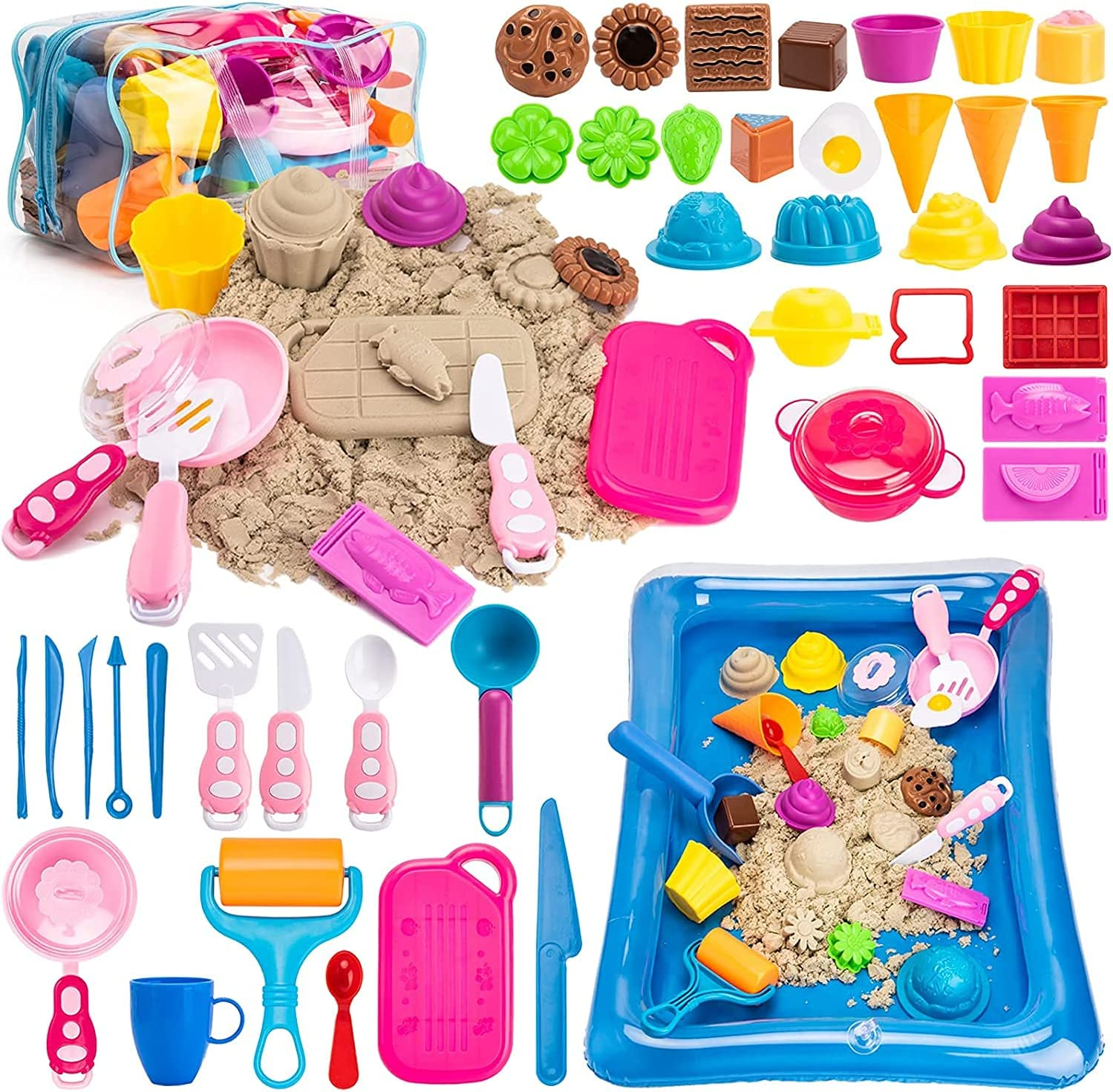 PRDLIMG Play Sand for Kids, Ice Cream Set,3lbs Magic Sand, Food Sand Molds Tools, Play Sand kit, Sand Tray and Storage Bag, 44PCS Sandbox Toys Set for Outdoor Tots