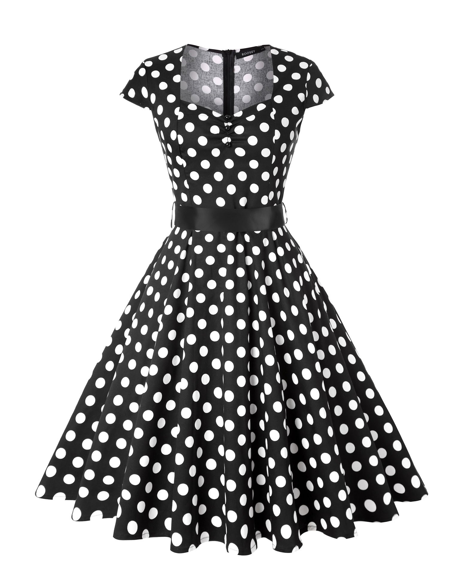 ROOSEY Women's Polka Dot Retro Vintage Style Cocktail Party Swing Pockets Dress