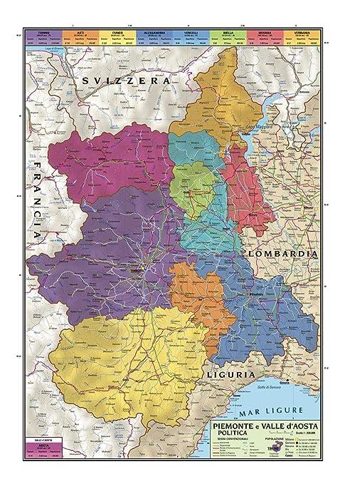 Cartina Fisica E Politica Del Piemonte.Carta Geografica Murale Regionale Piemonte E Valle D Aosta