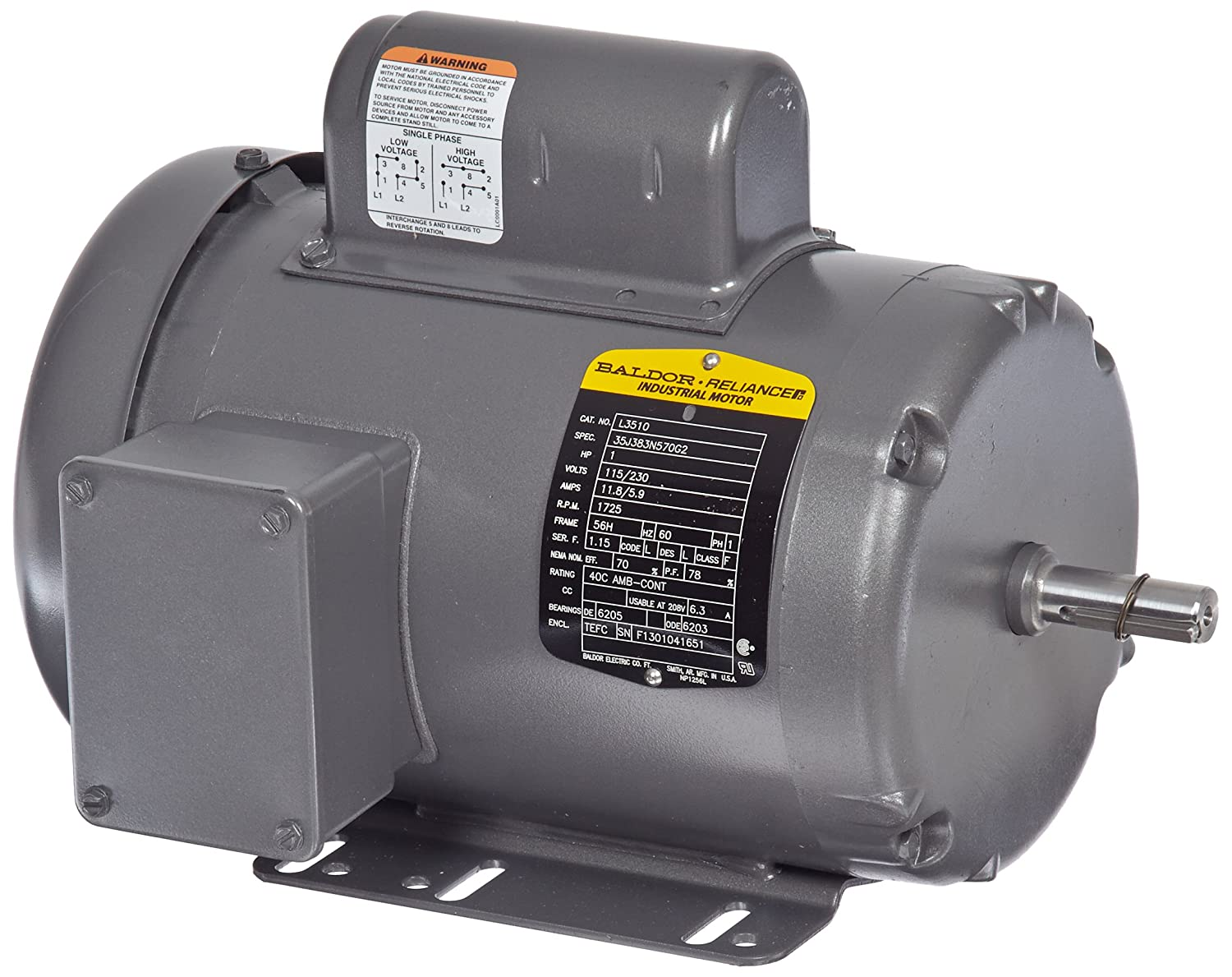 Baldor L3510 General Purpose AC Motor, Single Phase, 56H Frame, TEFC Enclosure, 1Hp Output, 1725rpm, 60Hz, 115/230V Voltage