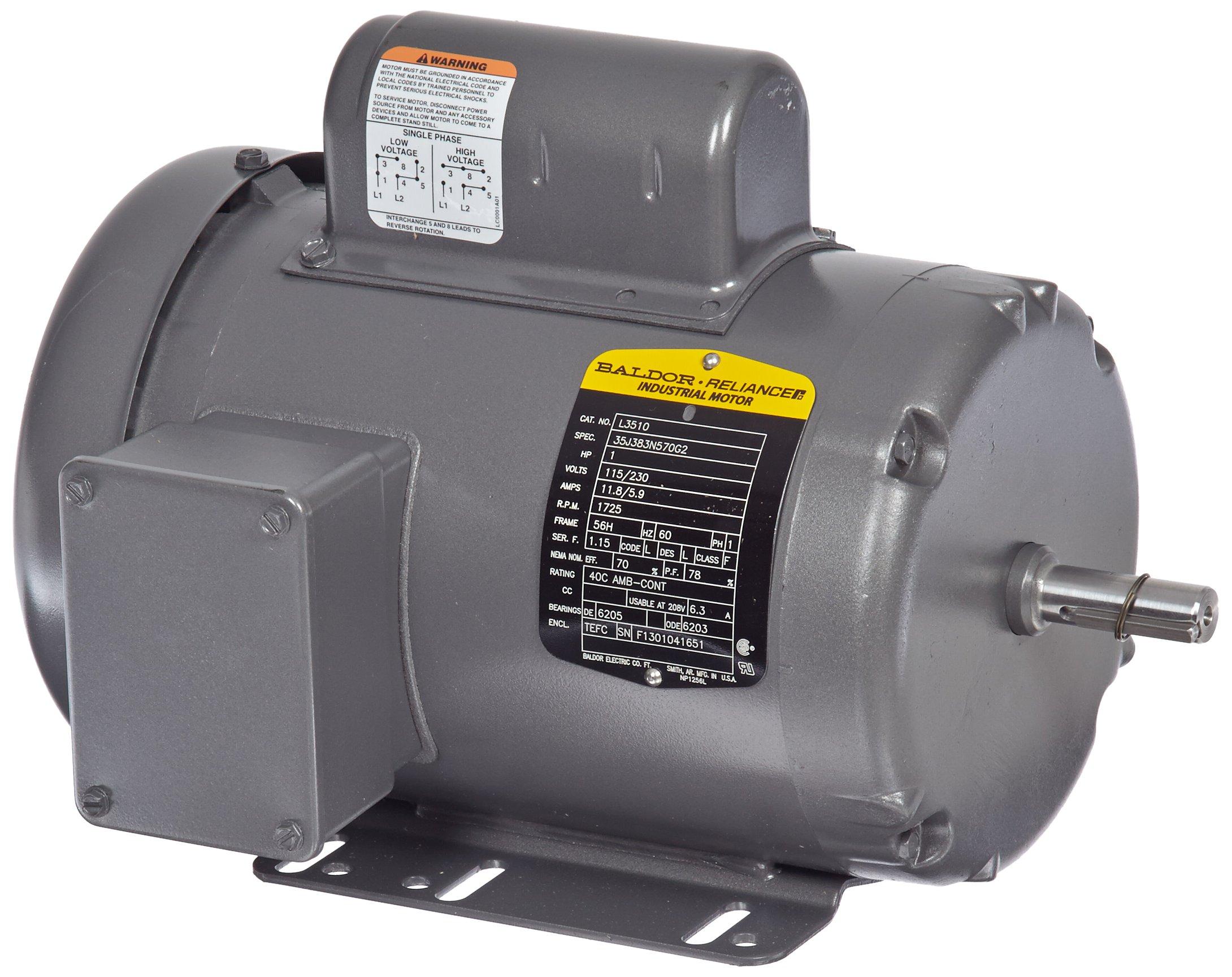 Baldor L3510 General Purpose AC Motor, Single Phase, 56H Frame, TEFC Enclosure, 1Hp Output, 1725rpm, 60Hz, 115/230V Voltage