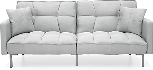 Best Choice Products Convertible Living Room Linen Fabric Tufted Split-Back Futon Sofa w 2 Pillows – Light Gray