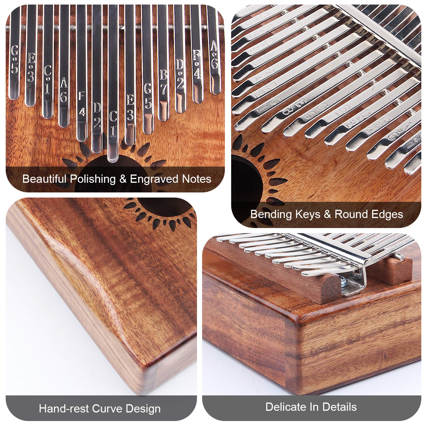 Kalimba Thumb Piano 17 Key, Portable Mbira Wood Finger Piano with 2 Bag and Sheet Music, Gifts for Kids Adult Beginners Professionals by HONHAND (Image #3)
